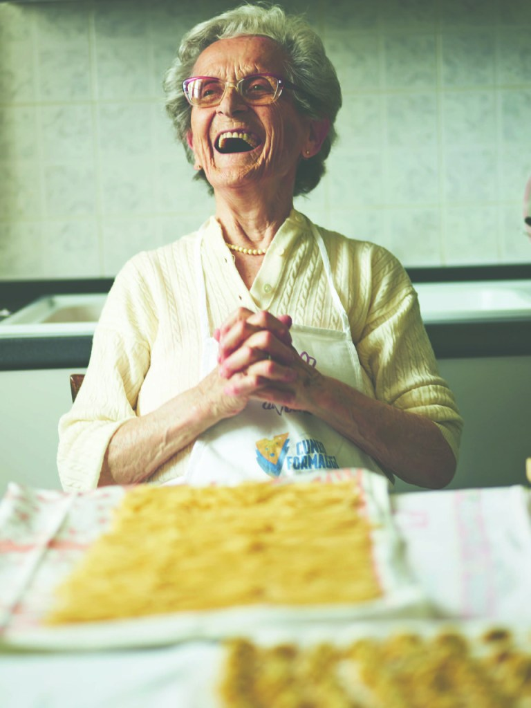 Ida from Pasta Grannies is full of mirth as she makes her homemade pasta