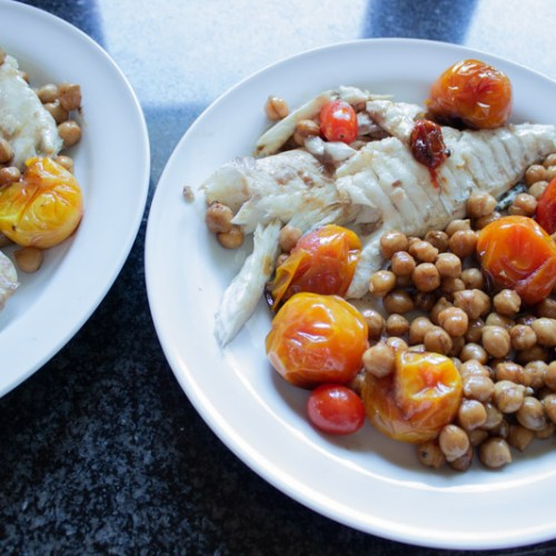 Pan Seared Sea-bass with Tomatoes and Chickpeas