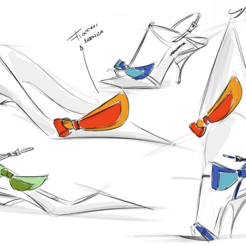 Luxury Italian shoe designer Alessio Spinelli sketches for his shoe designs