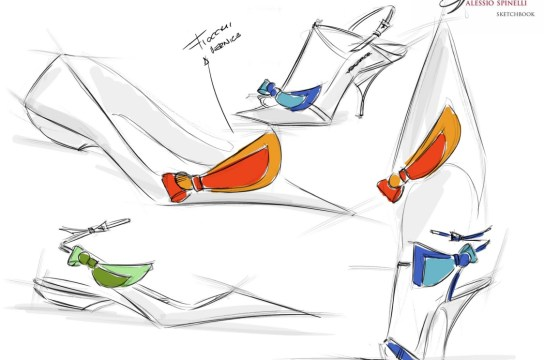 Luxury Italian shoe designer Alessio Spinelli sketches for his shoe designs