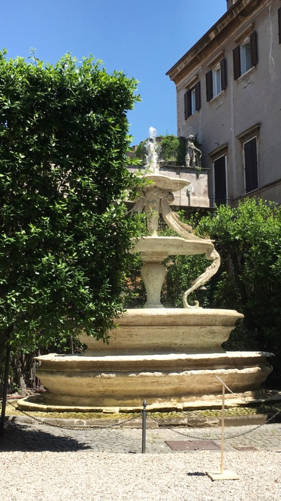 Rome's historic Palazzo Taverna fountain designed by Antonio Casoni, a 16th century architect and sculptor