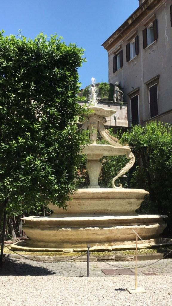 Rome's historic Palazzo Taverna fountain designed by Antonio Casoni, a 16th century architect and sculptor
