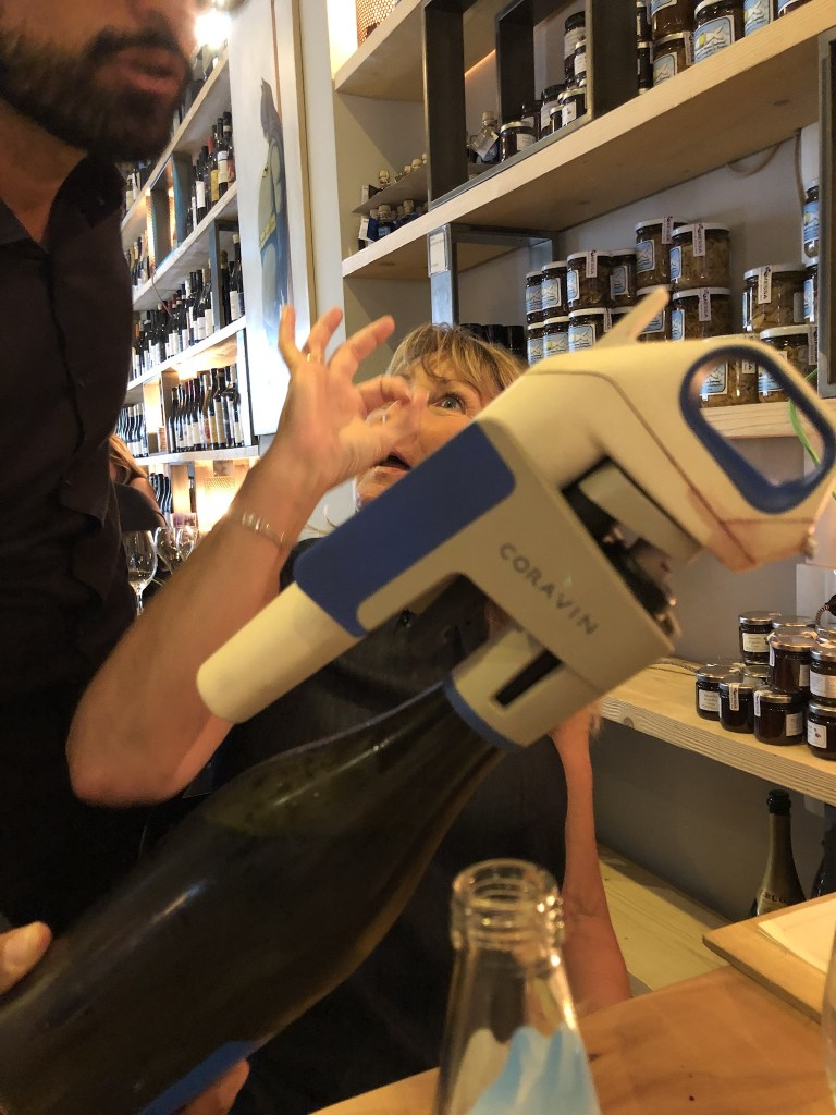 Pouring wine at the Rimessa Roscioli using the fabulous Coravin wine extractor