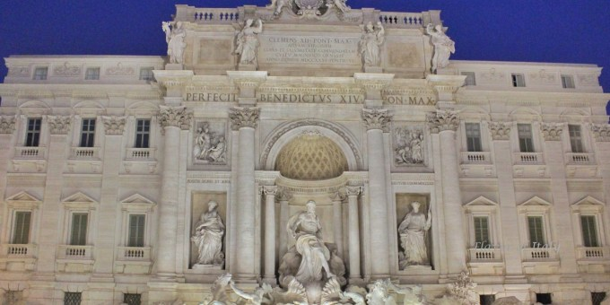 The gorgeous front view of the Trevi Fountain in early morning, tourist-free
