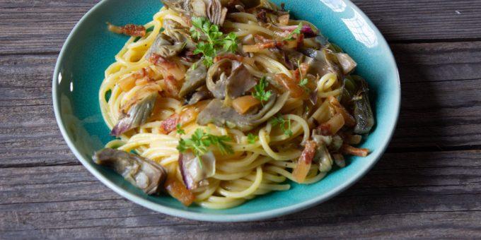 Spaghetti alla Carbonara with Artichoke Wedges incorporates this delicious seasonal vegetable into a luscious classic Roman recipe