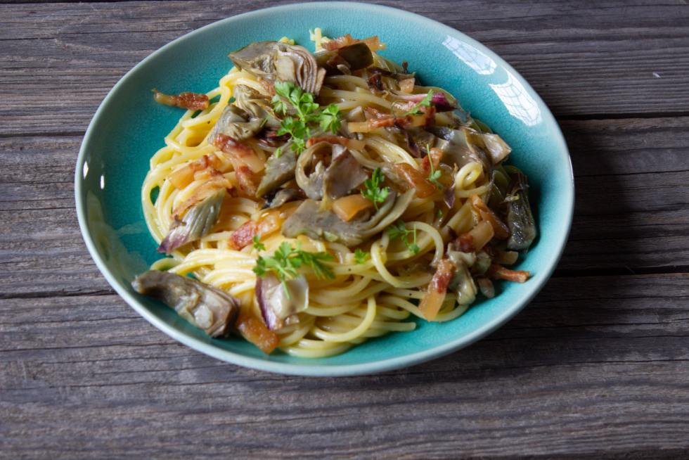 Spaghetti alla Carbonara with Artichoke Wedges incorporates this delicious seasonal vegetable into a luscious classic Roman recipe