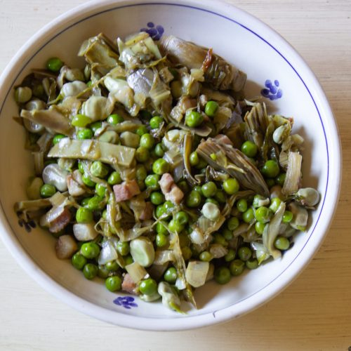 Vignarola is a celebration of spring made with artichokes, spring peas and fresh fava beans