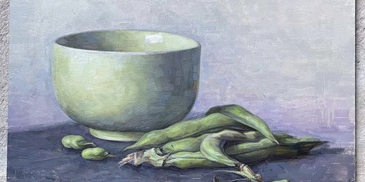 Fava bean painting by Andrea Smith feature's Rome's market produce
