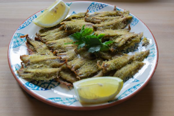 Baked Fresh Anchovies with parsley, capers and peperoncino