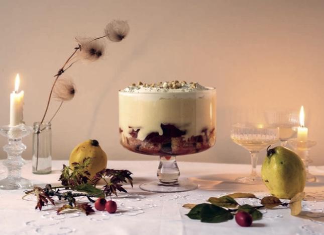 Letitia Clark's Quince, Bay, Marsala and Hazelnut Trifle