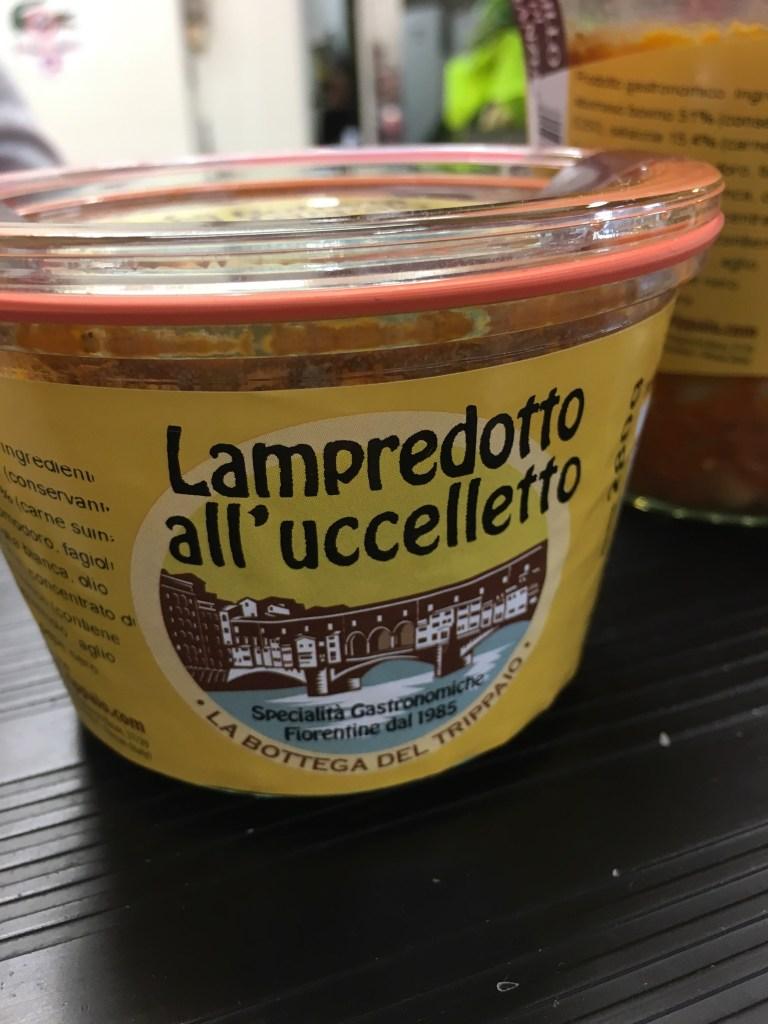 Jarred lampredotto at a Florence market
