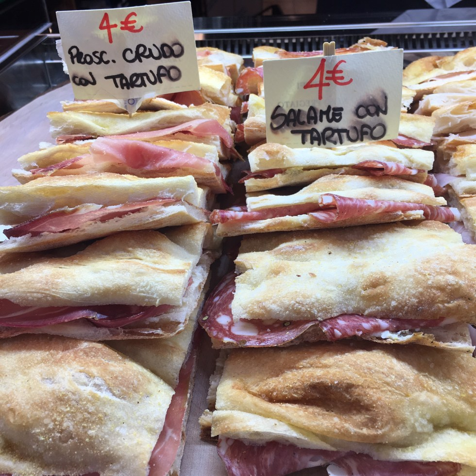 Pizza bianca panino with prosciutto and cheese