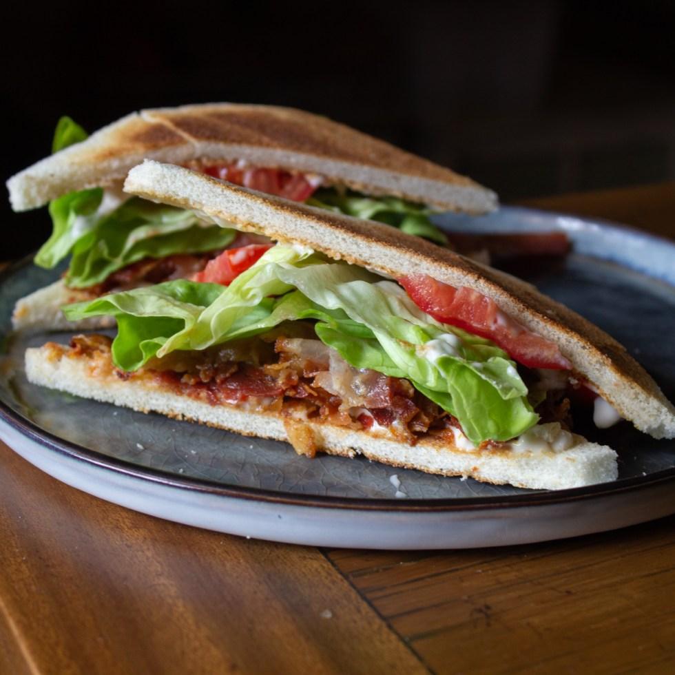 A classic BLT sandwich on tramezzini bread