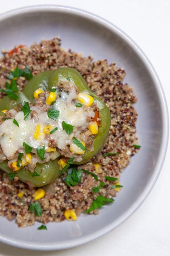 [Instant Pot] Double-Decker Cheesy Taco-Stuffed Peppers + Quinoa