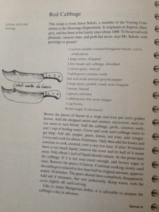 The red cabbage recipe, by Janos Schulz and Linda Gillies. (Contact me if you would like a transcription.)