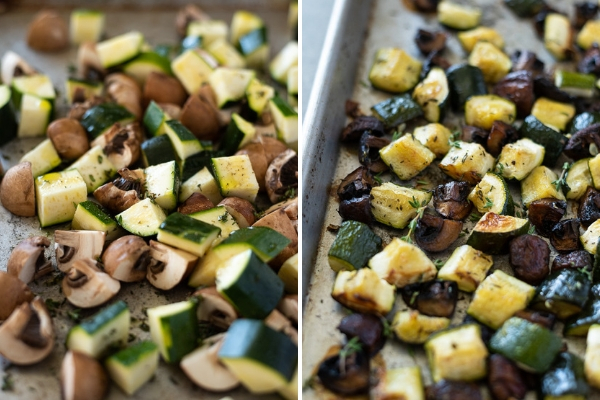 roasted zucchini and mushrooms process collage