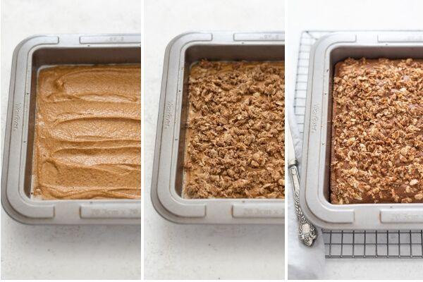 pumpkin coffee cake process collage
