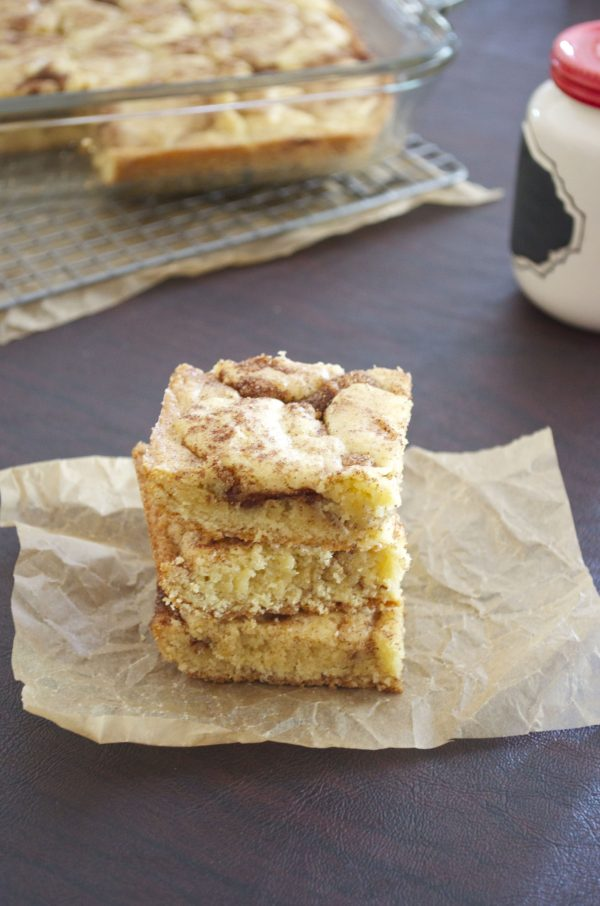 Snickerdoodle Bars are thick and chewy bars with a soft center and warm cinnamon flavor.  They're the ultimate way to enjoy a snickerdoodle cookie!