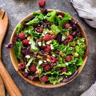 raspberry salad close up overhead shot