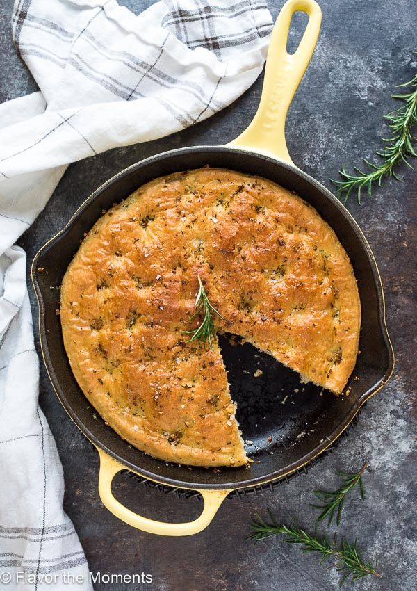 One Hour Rosemary Focaccia Bread is classic focaccia bread made in a cast iron skillet in only one hour.  It's thick, fluffy and perfect every time!