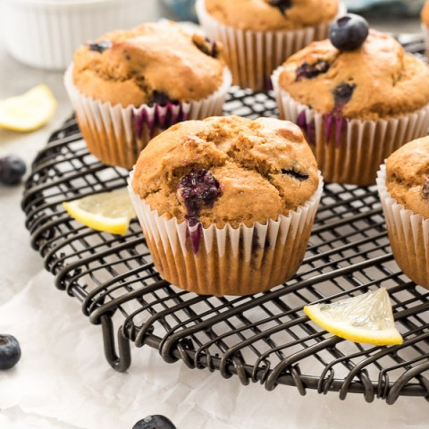 front shot of blueberry lemon muffins on wire rack with lemon slices
