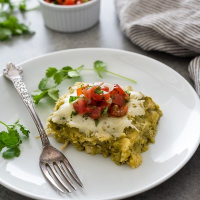 chicken verde enchilada square plated with salsa