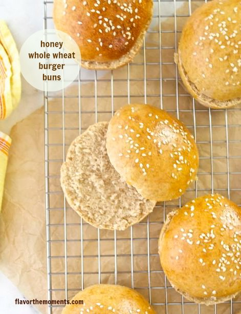 honey whole wheat burger buns1 flavorthemoments.com