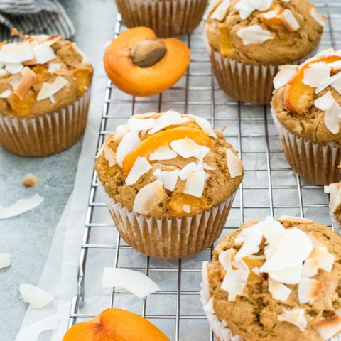 Healthier Fresh Apricot Coconut Muffins