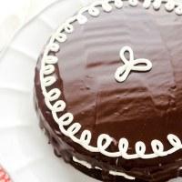 Hostess cupcake layer cake on serving platter