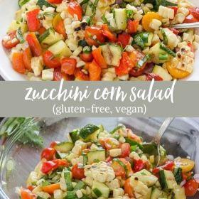 zucchini corn salad collage
