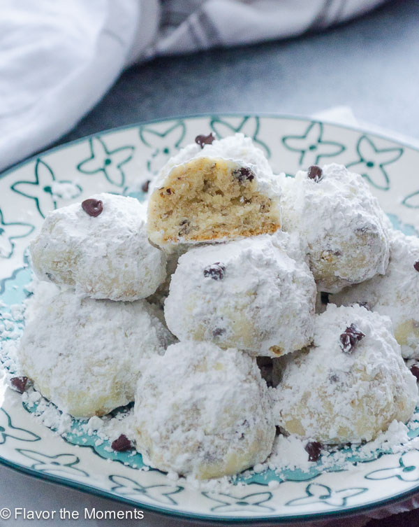 Chocolate Chip Hazelnut Snowball Cookies