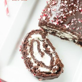 peppermint mocha cake roll with slice facing upward
