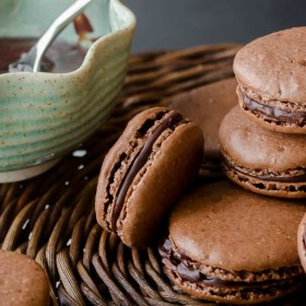 chocolate macarons stacked up