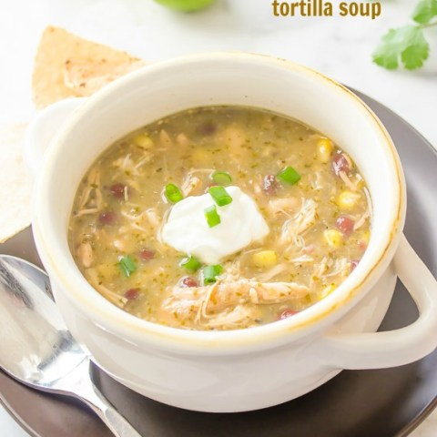 Slow Cooker Chicken Salsa Verde Tortilla Soup