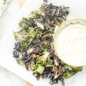 crispy-roasted-kalettes-with-light-garlic-parmesan-dip | flavorthemoments.com
