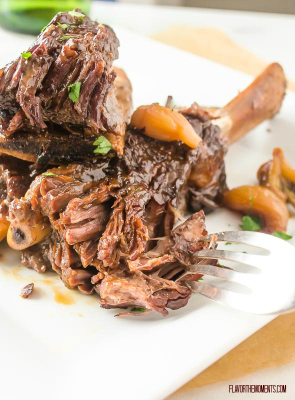 pressure cooker short ribs with fork separating meat
