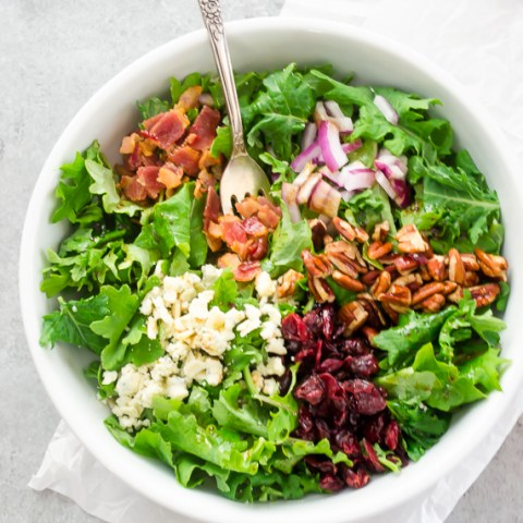 Baby Kale Salad with Bacon, Blue Cheese, and Cranberries