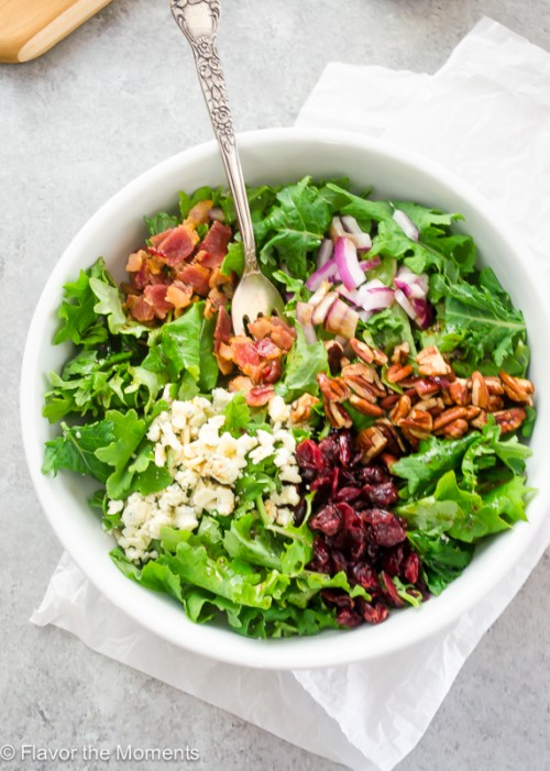 baby-kale-salad-with-bacon-blue-cheese-and-cranberries1-flavorthemoments.com