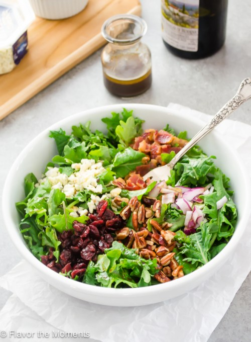 baby-kale-salad-with-bacon-blue-cheese-and-cranberries2-flavorthemoments.com