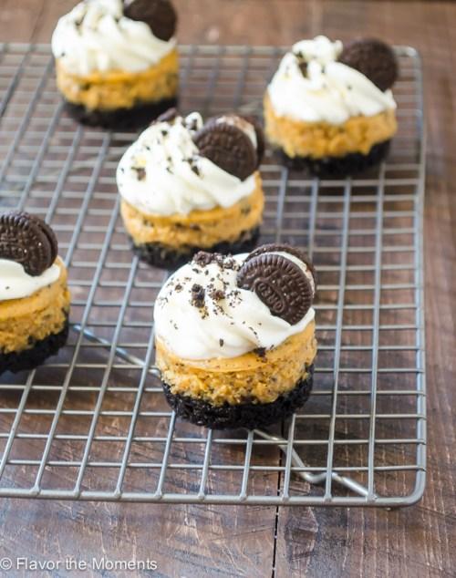 Mini Cookies 'N Cream Pumpkin Cheesecakes   flavorthemoments.com