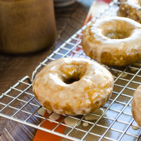 Espresso Glazed Baked Pumpkin Donuts