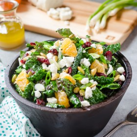 Kale Salad with Goat Cheese, Cranberries, and Orange | flavorthemoments.com