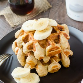 Whole Wheat Banana Greek Yogurt Waffles are the perfect light, fluffy, and healthy breakfast! @FlavortheMoment