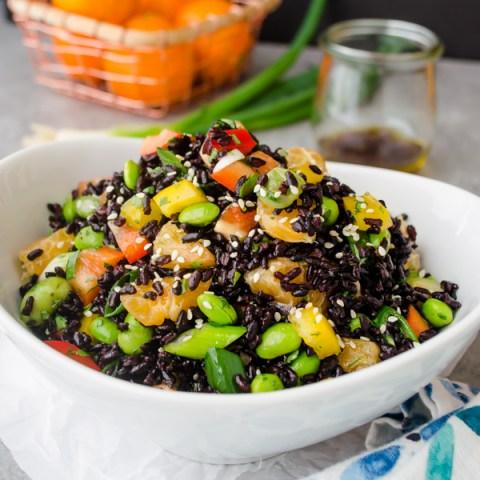 Asian Black Rice Salad with Ginger Orange Dressing