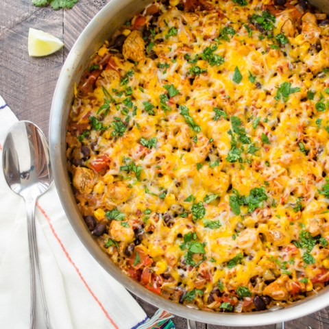 30-Minute Cheesy Mexican Rice Skillet