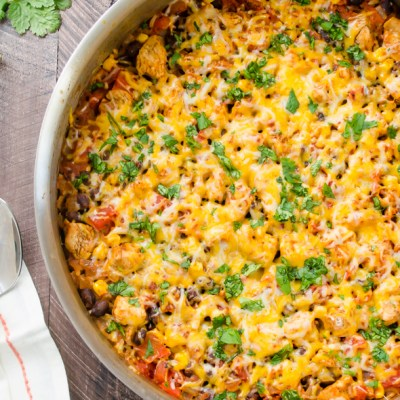 overhead close up of mexican chicken rice casserole