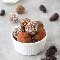 Fig Almond Energy Bite Truffles in a white ramekin