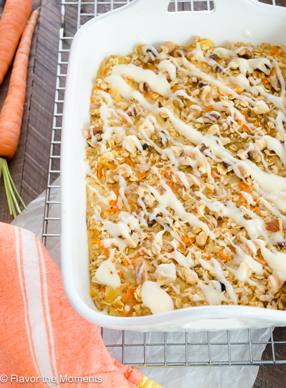 Carrot Cake Baked Oatmeal with Cream Cheese Glaze is the healthier way to enjoy the flavors of carrot cake and makes a great special breakfast or brunch! @FlavortheMoment