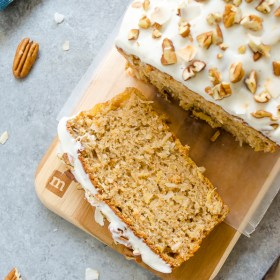 Healthier Hummingbird Bread with Vanilla Bean Cream Cheese Glaze is a lightened up take on classic hummingbird cake without sacrificing flavor or texture.  It's moist and delicious, and perfect for a special brunch or breakfast!
