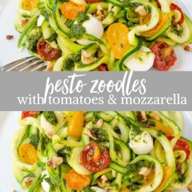 pesto zoodles with tomatoes and mozzarella collage